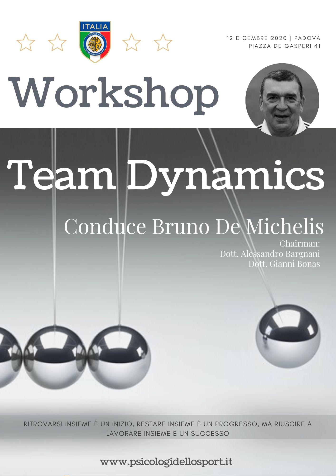 1 congresso workshop team dynamics bruno de michelis psicologi dello sport psicologia applicata alessandro bargnani gianni bonas