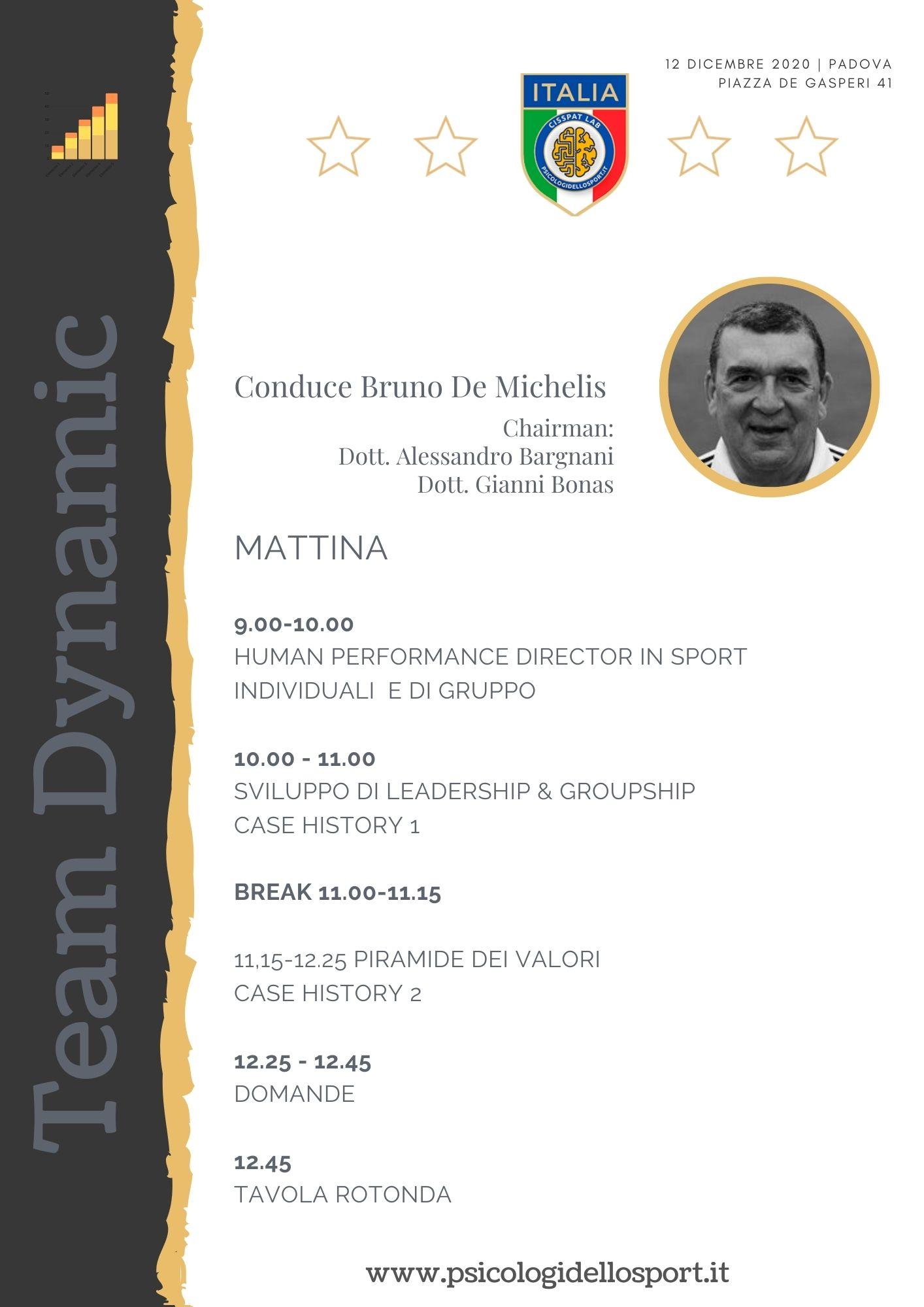 3 congresso workshop team dynamics bruno de michelis psicologi dello sport psicologia applicata alessandro bargnani gianni bonas