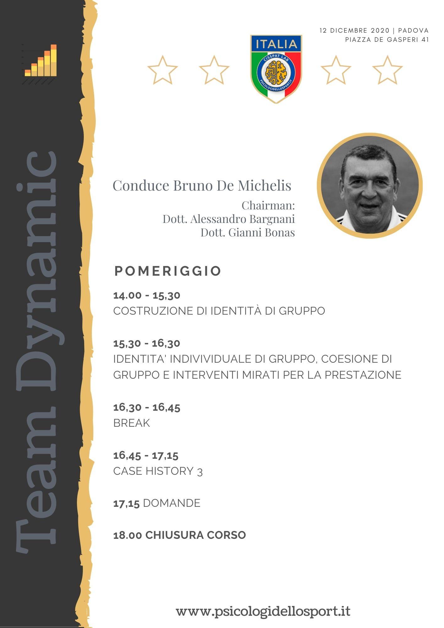 4 congresso workshop team dynamics bruno de michelis psicologi dello sport psicologia applicata alessandro bargnani gianni bonas