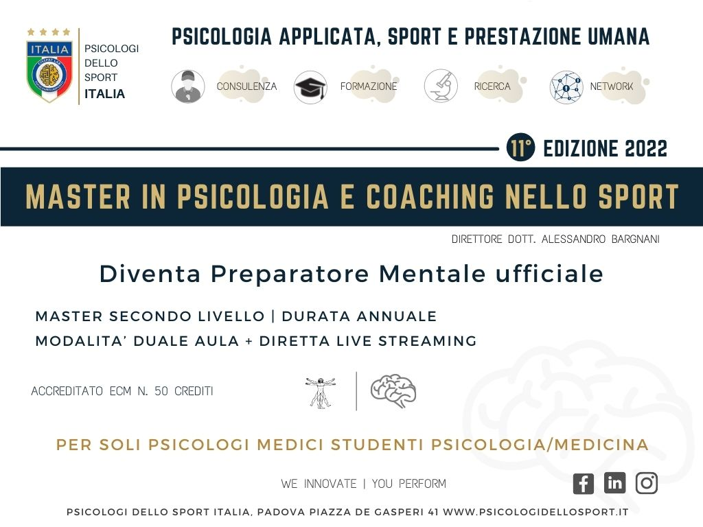 master psicologi dello sport 2022 psicologia dello sport e dell esercizio fisico bargnani bertollo bonas