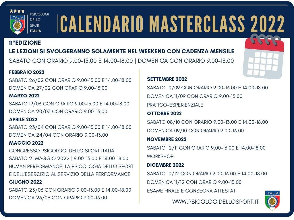calendario masterclass 2022 psicologi dello sport e dell esercizio fisico